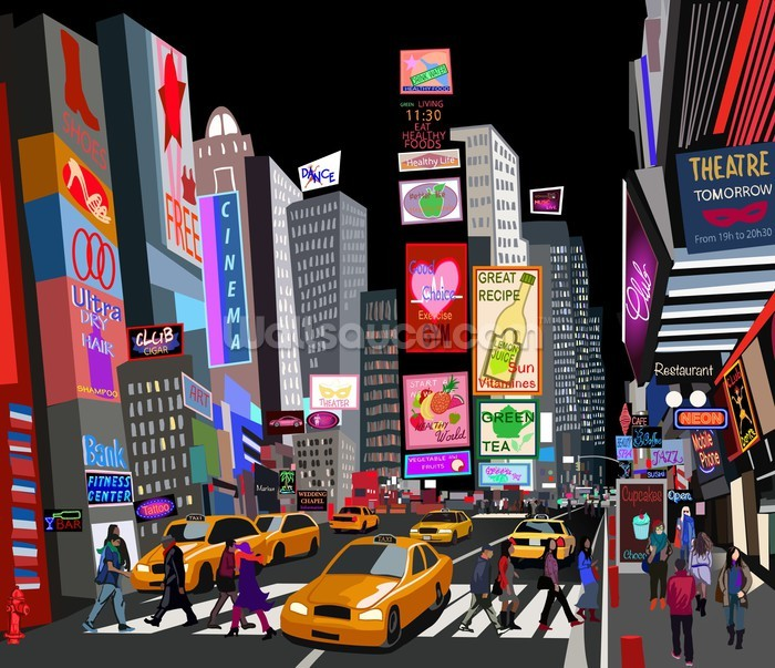 Abstract NY Times Square Wall Mural Photo Wallpaper Part 7