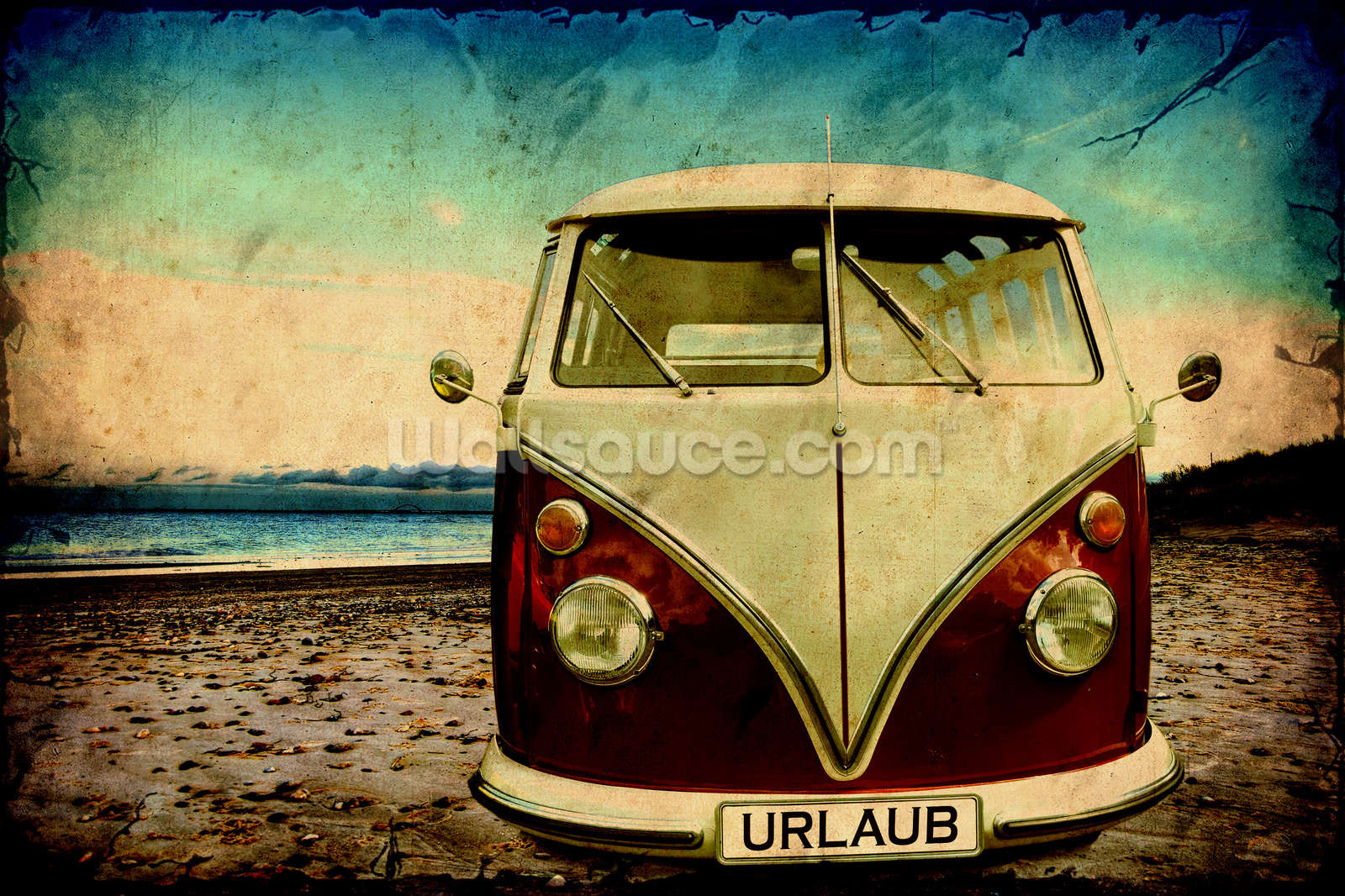 vw camper on the beach wallpaper wall mural wallsauce. Black Bedroom Furniture Sets. Home Design Ideas