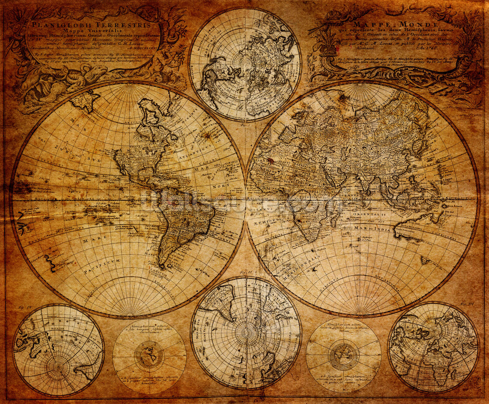 Old globe map 1746 wallpaper wall mural wallsauce usa old globe map 1746 wallpaper mural gumiabroncs Image collections