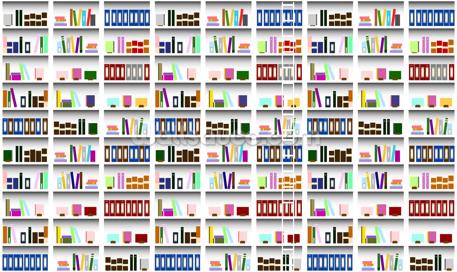 Bookcase digital wallpaper wall mural wallsauce europe for Digital wallpaper mural