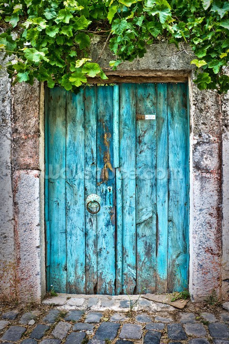 Bright Blue Wooden Door Wallpaper Wall Mural Wallsauce
