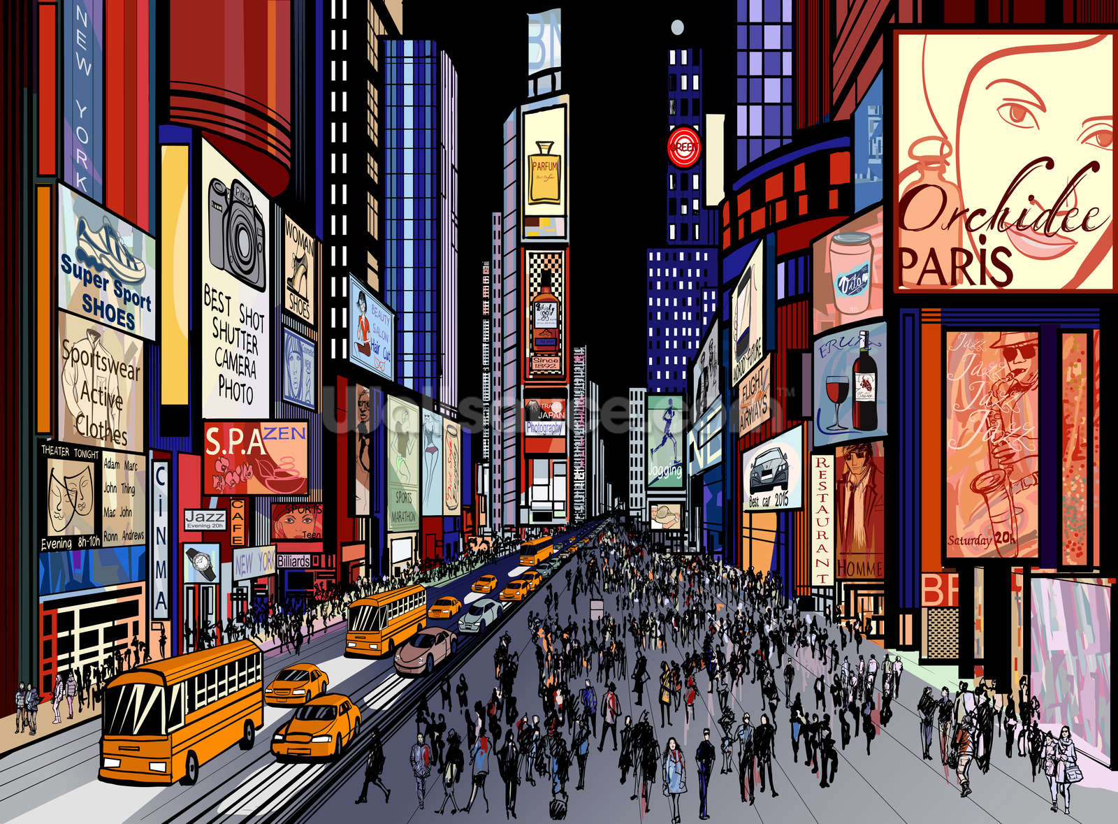 New York Night View Of Times Square Wallpaper Wallsauce Ca