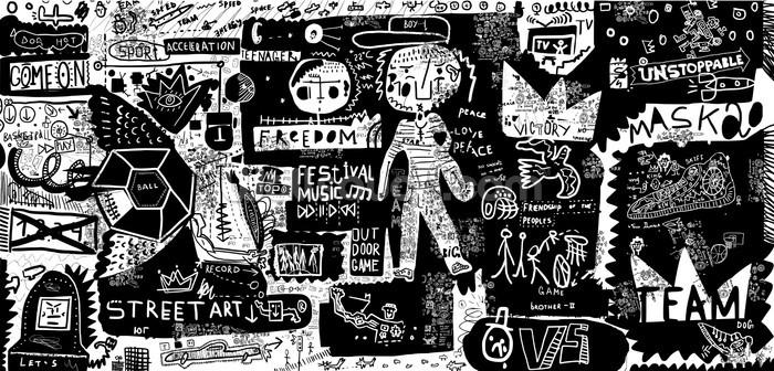 Graffiti Black And White Wallpaper Mural