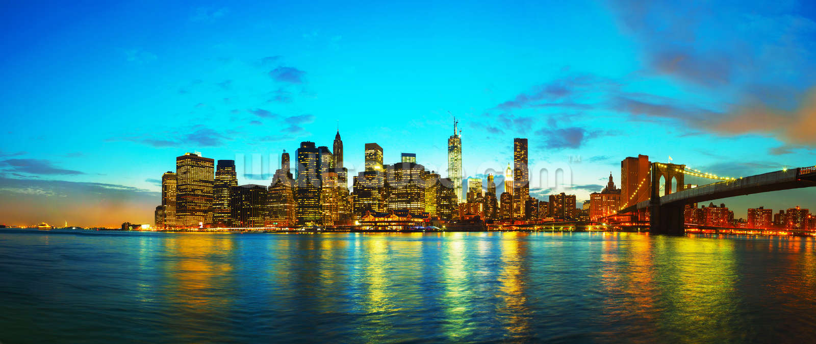 New york cityscape at sunset wallpaper wall mural wallsauce for Cityscape wall mural