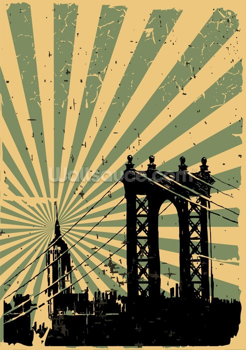 new york vintage poster wallpaper wall mural wallsauce. Black Bedroom Furniture Sets. Home Design Ideas