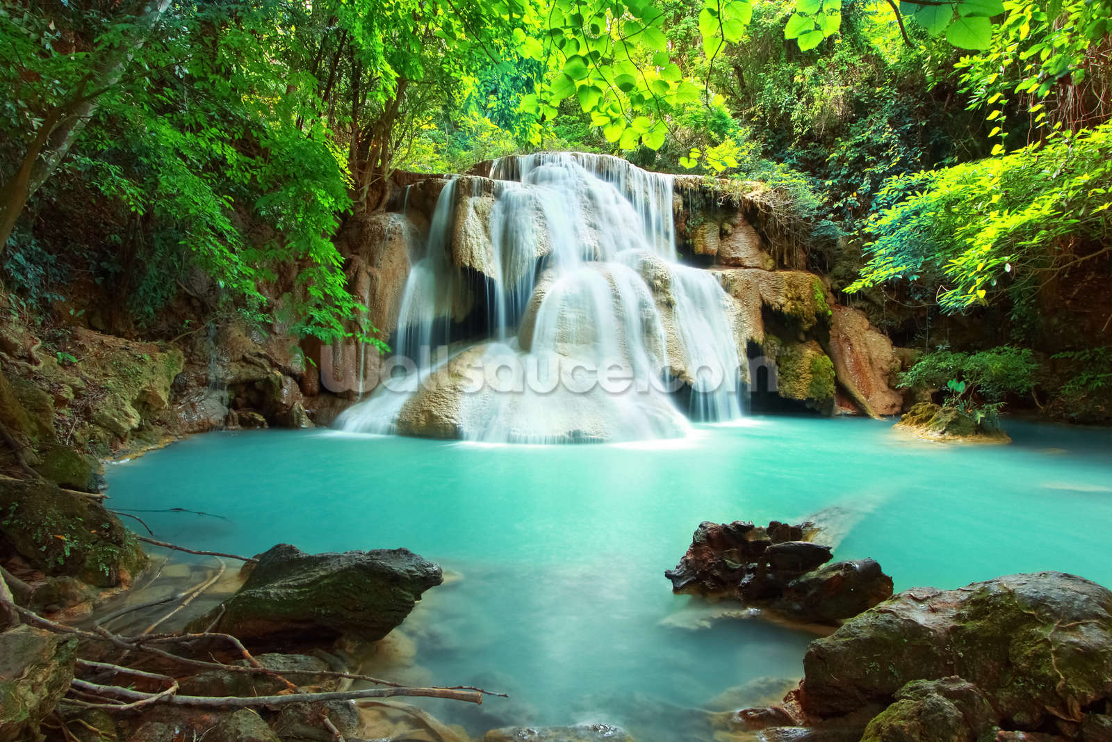 Huay mae kamin waterfall thailand wallpaper wall mural for Waterfall delivery