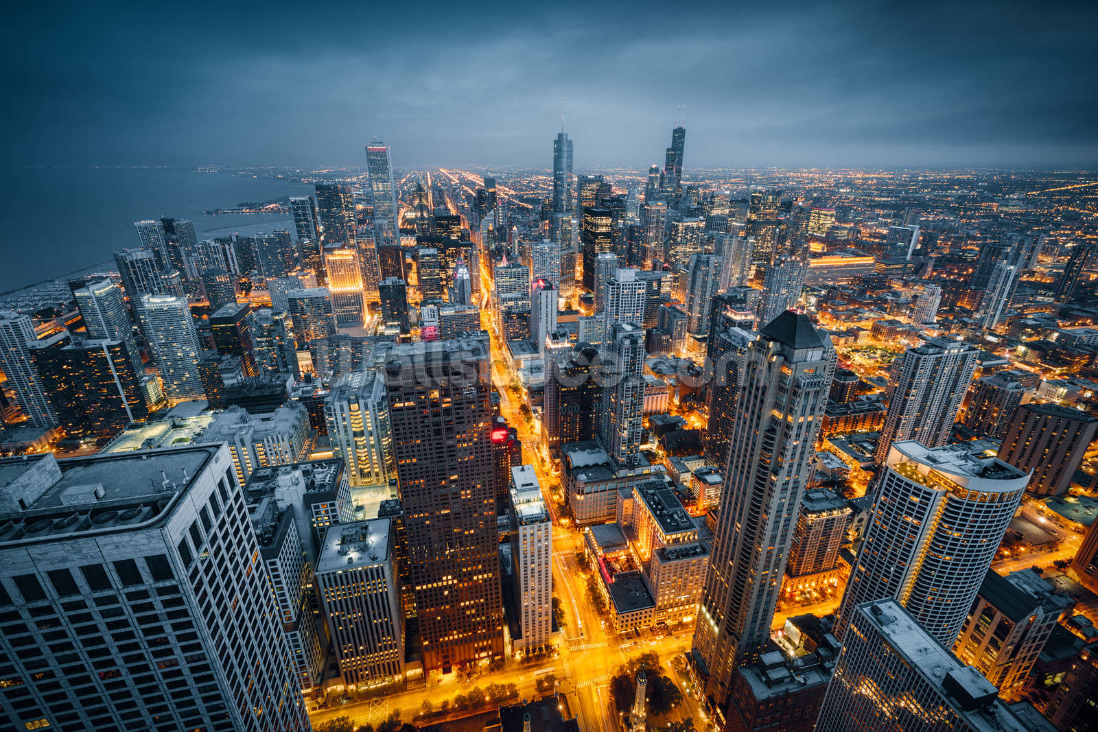 Chicago skyline dusk wallpaper wall mural wallsauce norway for Chicago wall mural