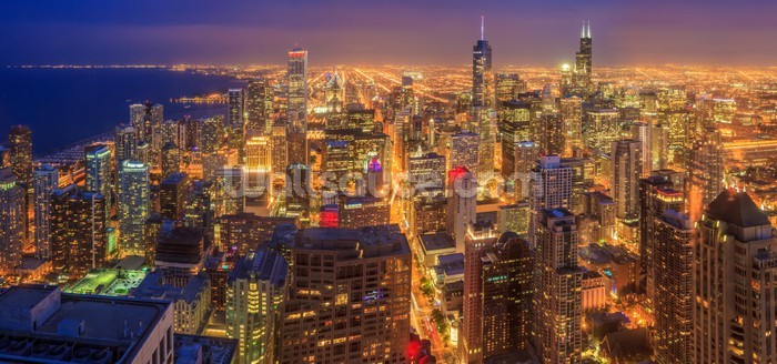 Chicago skyline at night wallpaper wall mural wallsauce usa for Chicago skyline mural wallpaper