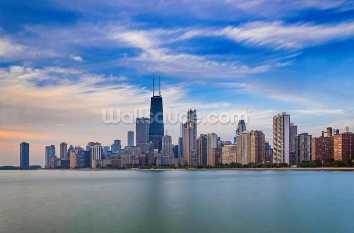 Chicago skyline wallpaper wall mural wallsauce for Chicago skyline wall mural
