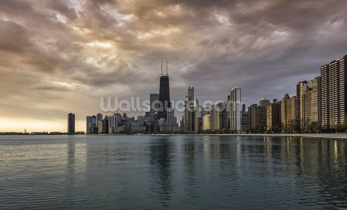 Chicago sunrise skyline wallpaper wall mural wallsauce for Chicago skyline mural wallpaper