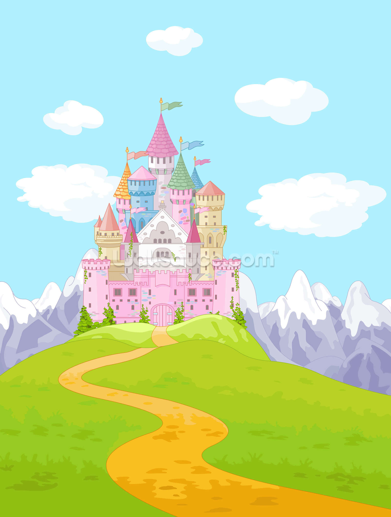 Fairy castle mural wallpaper wall murals for Fairy princess mural