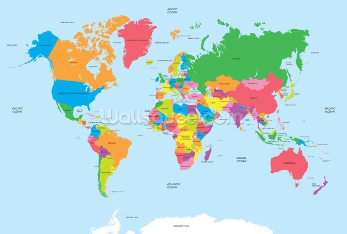 Political Map of the World Wallpaper Wall Mural  Wallsauce Canada