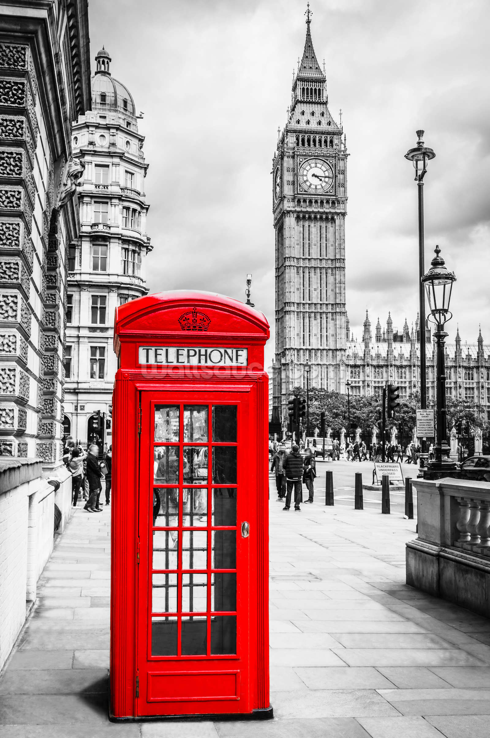 London telephone box wallpaper wall mural wallsauce canada for Black and white london mural wallpaper
