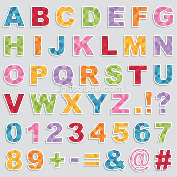 Alphabet stickers wallpaper wall mural wallsauce usa for Alphabet wall mural