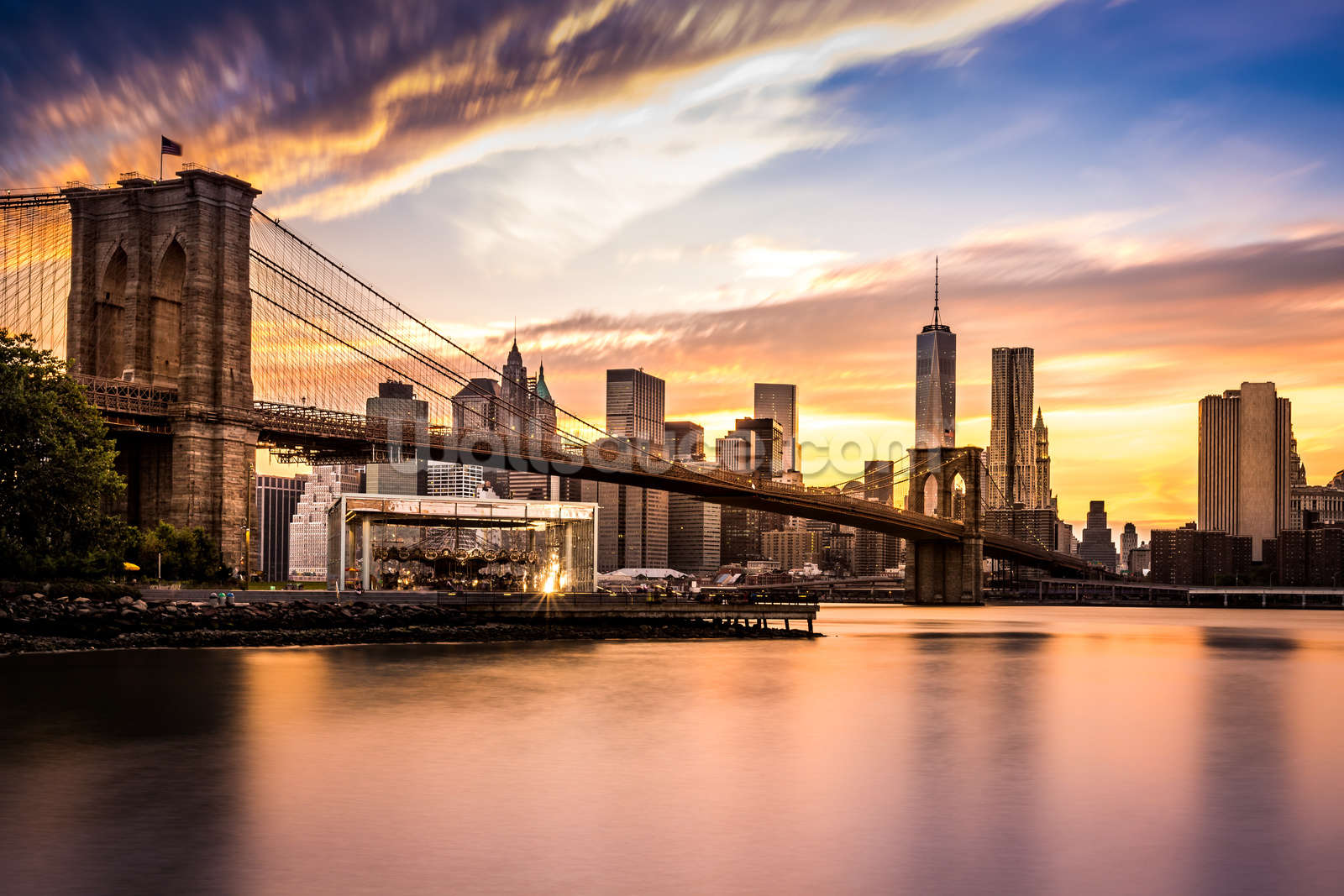Brooklyn bridge at dusk wallpaper wall mural wallsauce for Brooklyn bridge mural wallpaper