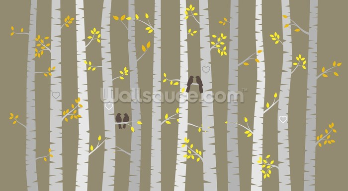Nice Birch Tree Love Birds Wall Mural Photo Wallpaper Part 19