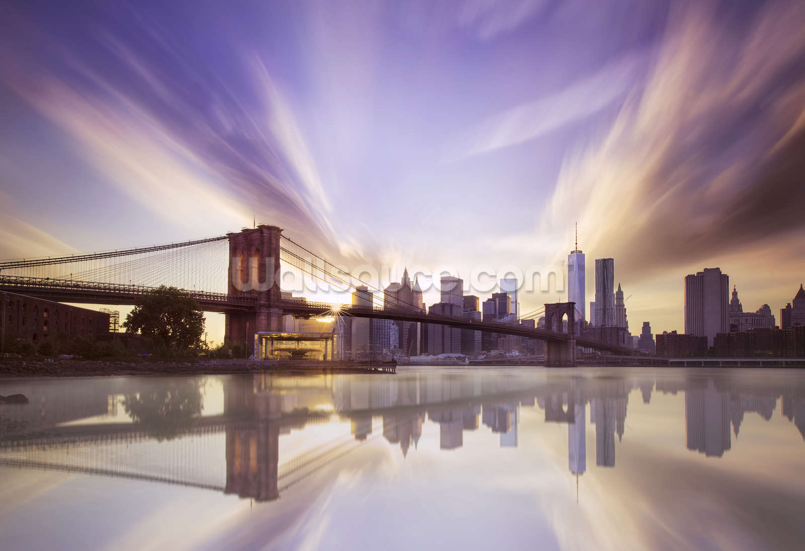 Brooklyn bridge sunset wallpaper wall mural wallsauce usa for Brooklyn bridge wallpaper mural