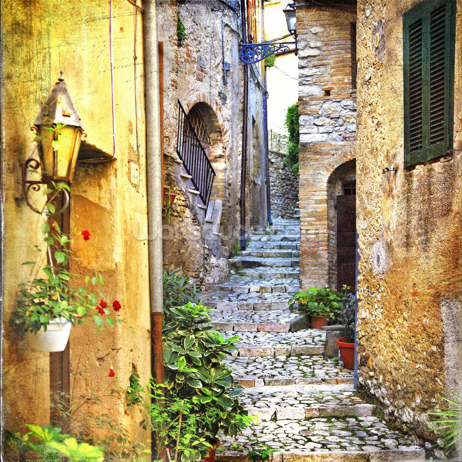 Mediterranean Old Town Street Wallpaper Wall Mural Wallsauce Usa