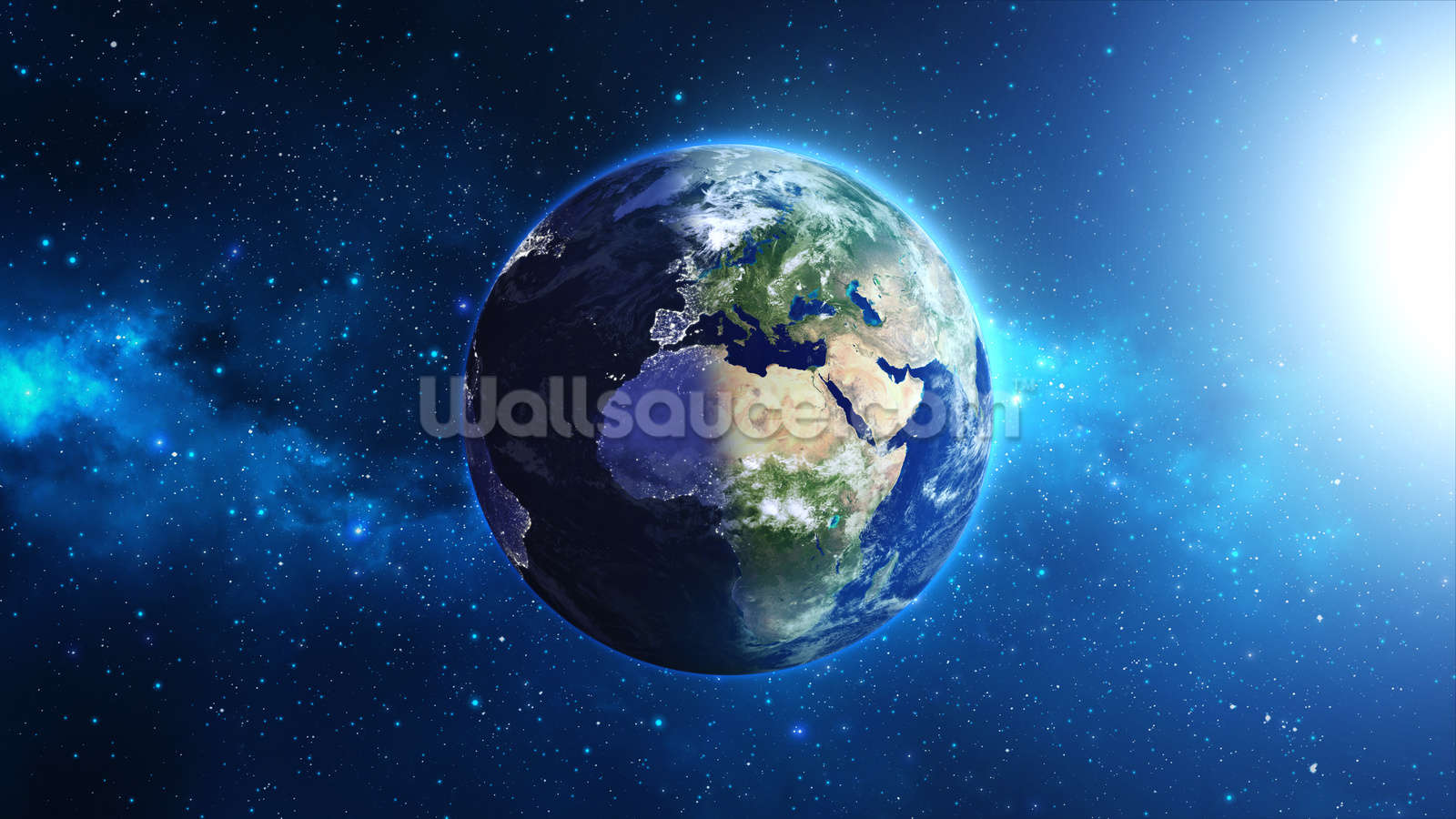 Planet earth wallpaper wall mural wallsauce usa for Earth rising wall mural