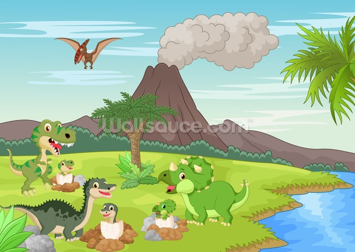 Baby dinosaurs volcano wallpaper wall mural wallsauce for Baby mural wallpaper