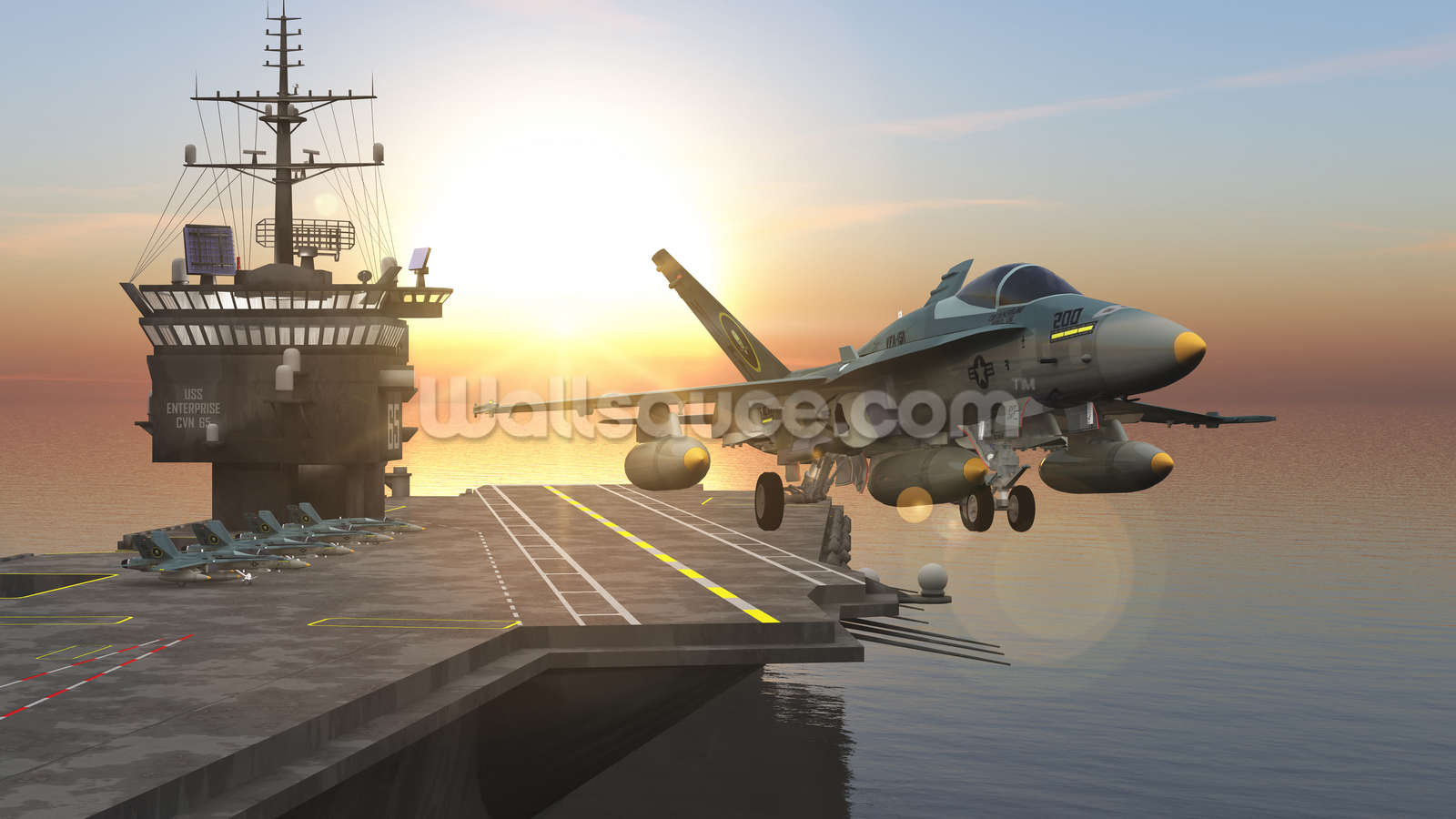 Aircraft carrier wallpaper wall mural wallsauce for Aviation wall mural