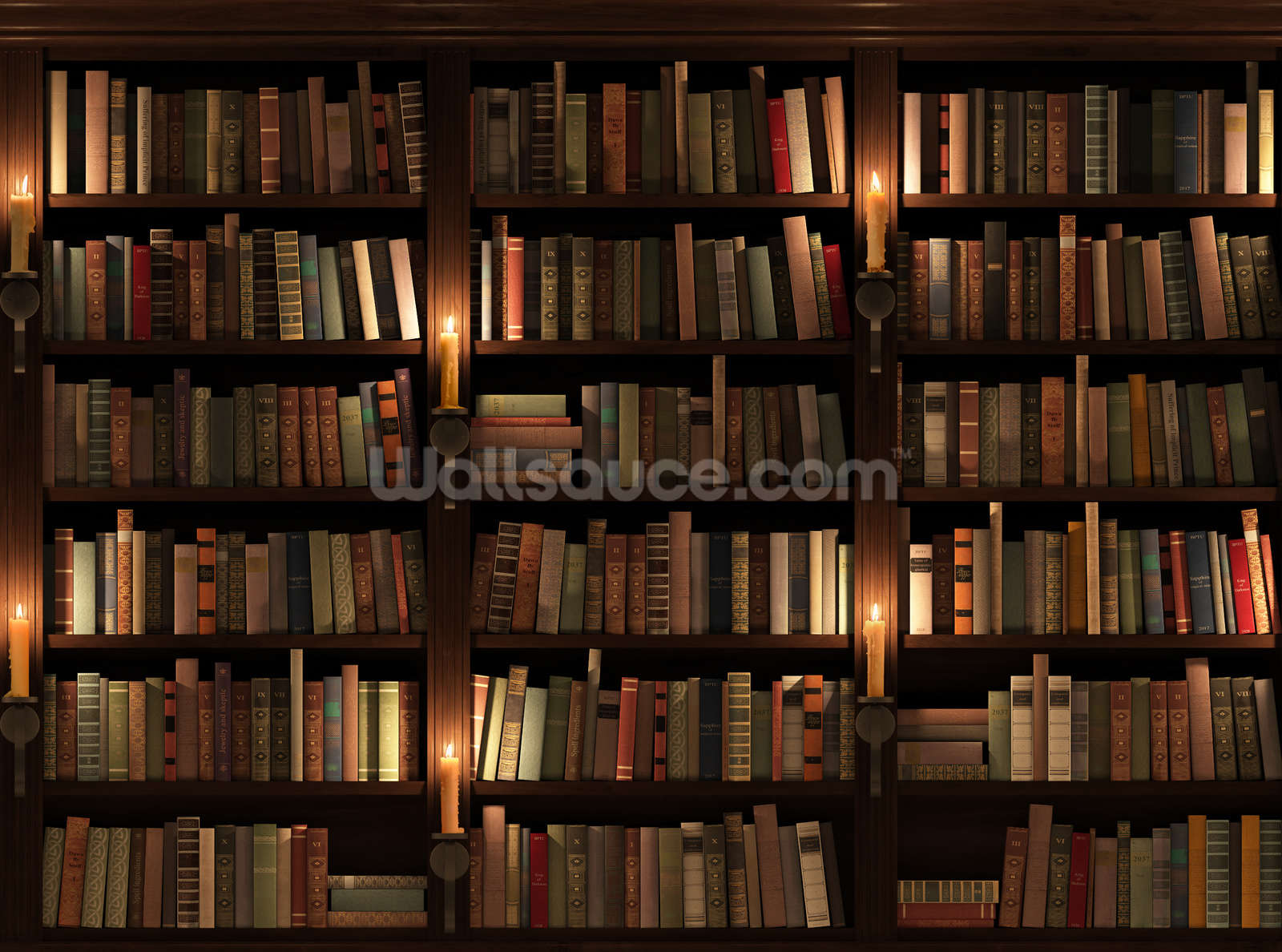 Bookcase And Candles Wall Mural Photo Wallpaper