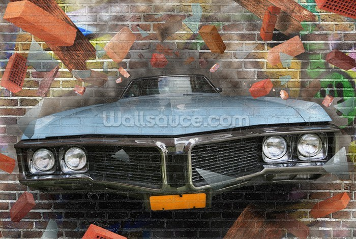 Graffiti car smash wallpaper wall mural wallsauce for Car wallpaper mural