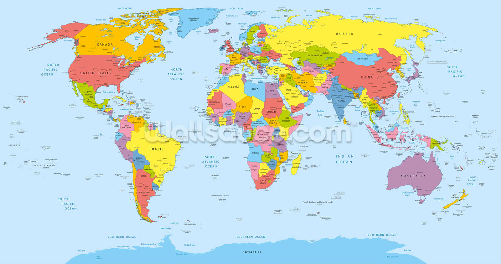 Colourful world map wallpaper wall mural wallsauce usa colourful world map wallpaper mural gumiabroncs Images