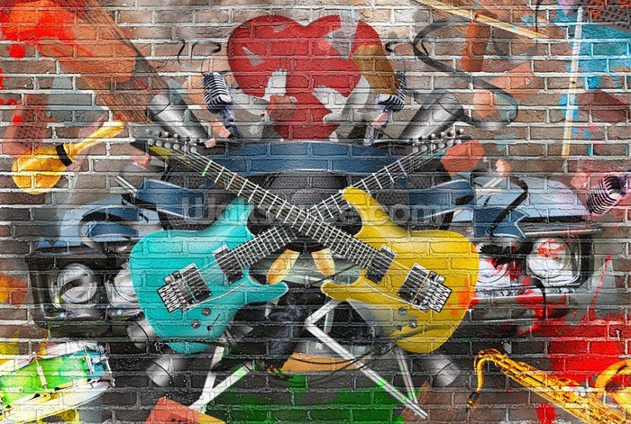 Graffiti   Guitar Wall Mural Photo Wallpaper Part 27