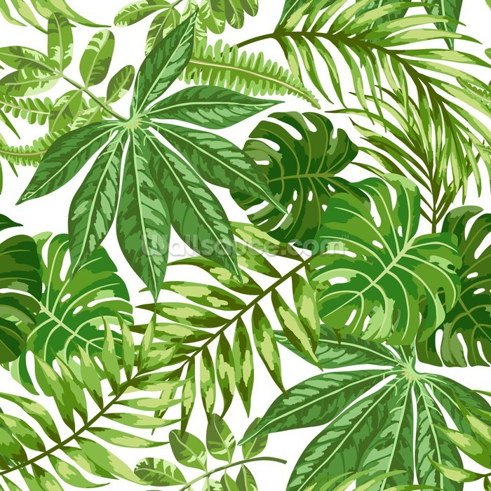 Exotic Leaf Pattern Wallpaper Mural
