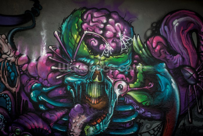 Graffiti - Alien Creature Wallpaper Mural