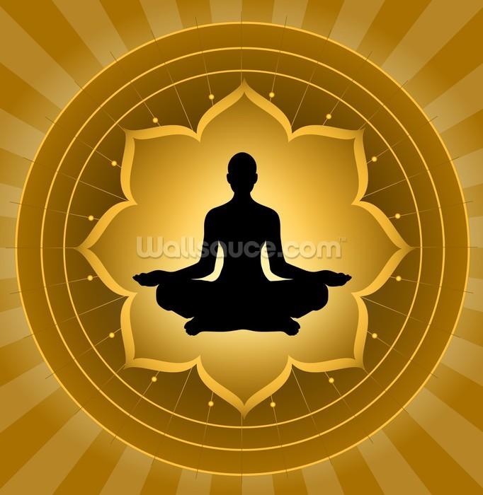 Yoga Meditation On Lotus Background Wallpaper Wall Mural