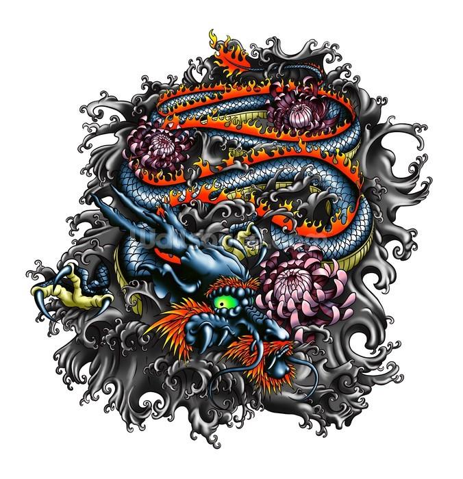 Japanese dragon wallpaper wall mural wallsauce for Dragon mural wallpaper