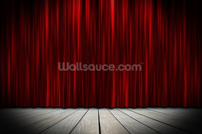 Theater Stage With Red Curtains In Spotlight Wallpaper Mural