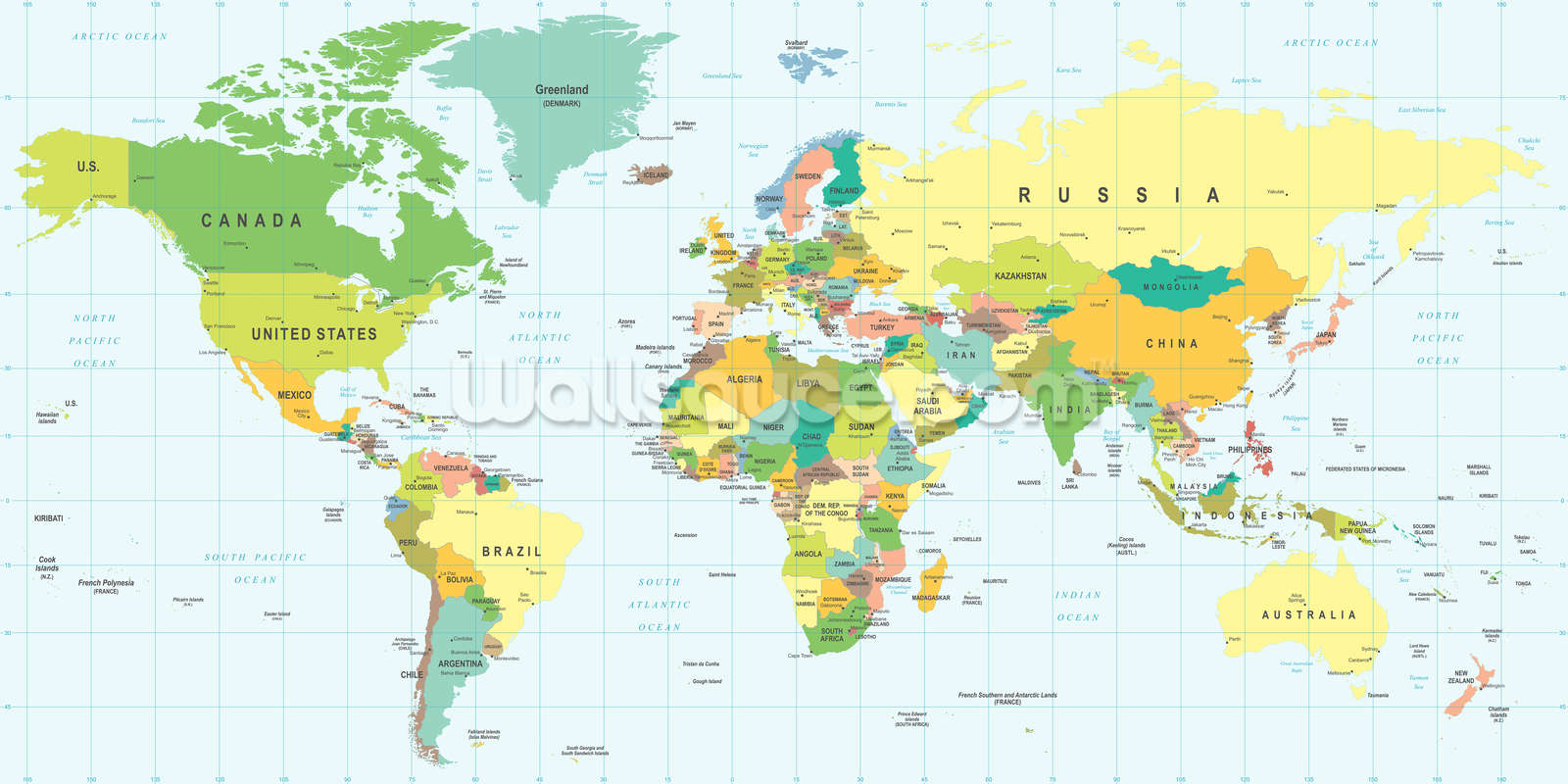 Detailed World Map Wallpaper Mural Wallsauce Au