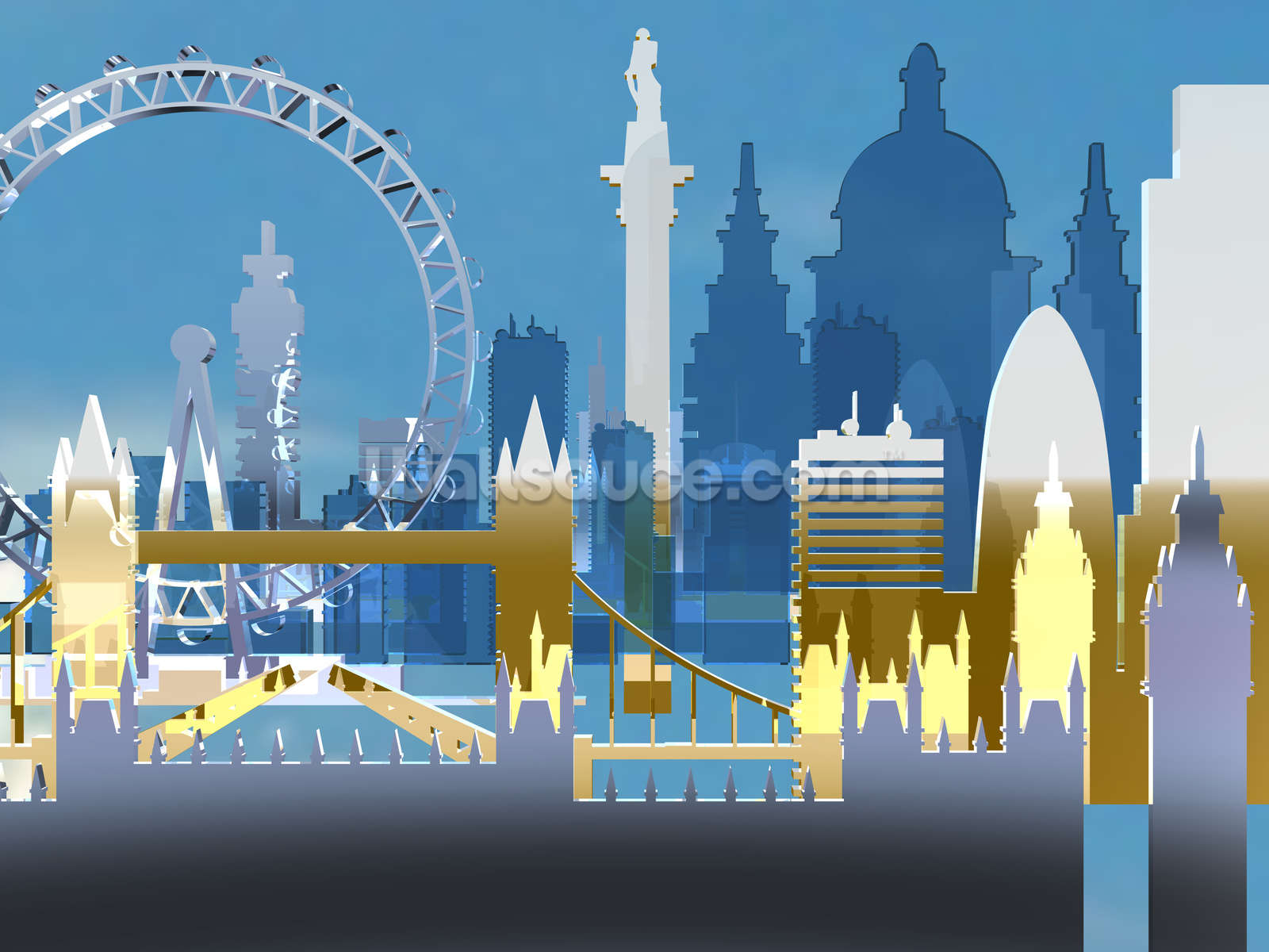 London skyline illustration wallpaper wall mural wallsauce usa london skyline illustration wall mural photo wallpaper amipublicfo Choice Image