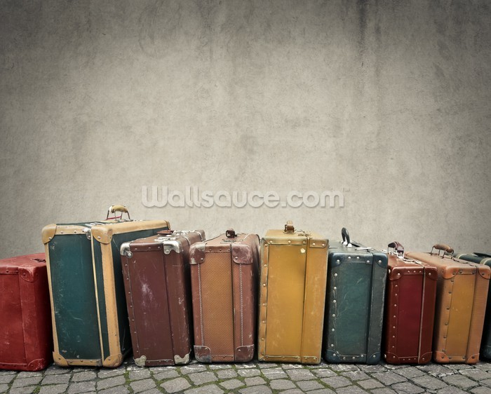 suitcases wallpaper wall mural wallsauce usa. Black Bedroom Furniture Sets. Home Design Ideas