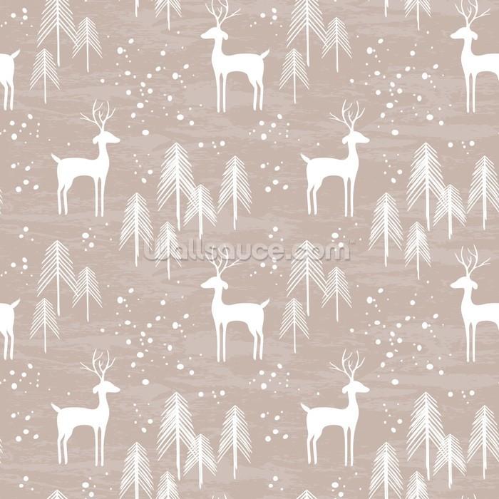 Deer in winter wallpaper mural pattern wall mural for Deer wall mural wallpaper