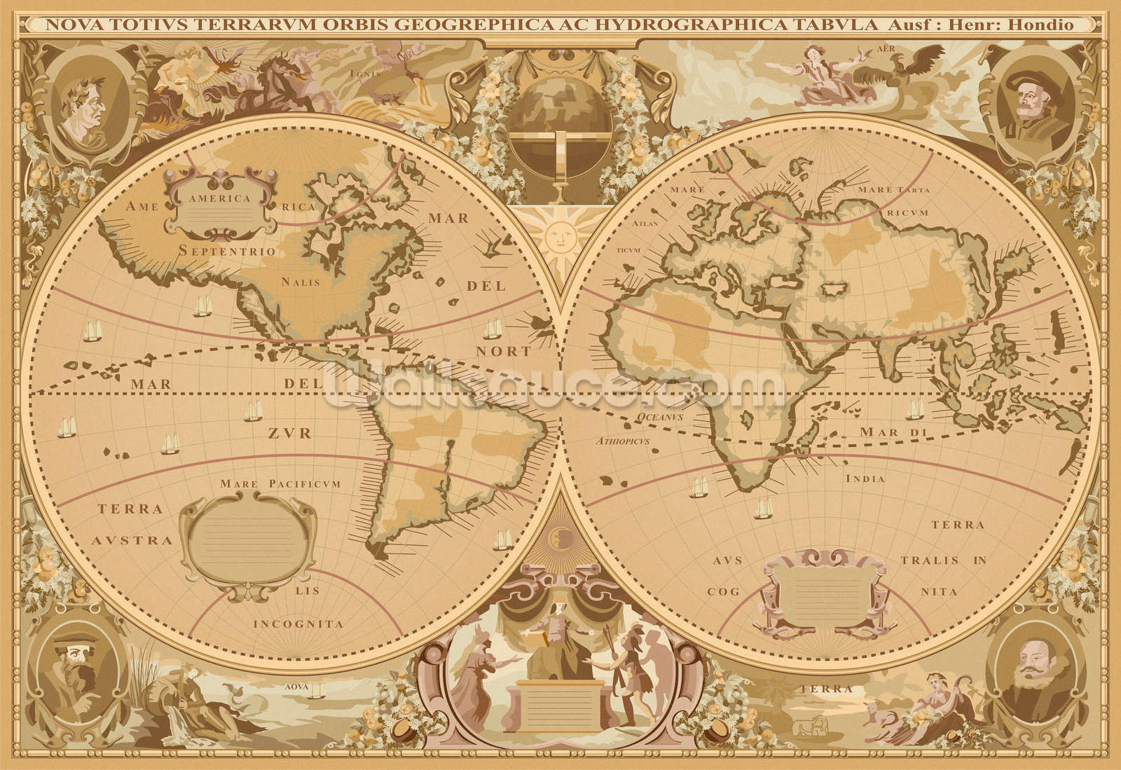 Antique World Map Wallpaper Wall Mural Wallsauce USA - Map wold