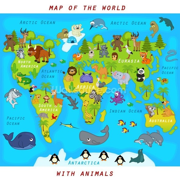 Map of the World with Animals wall mural