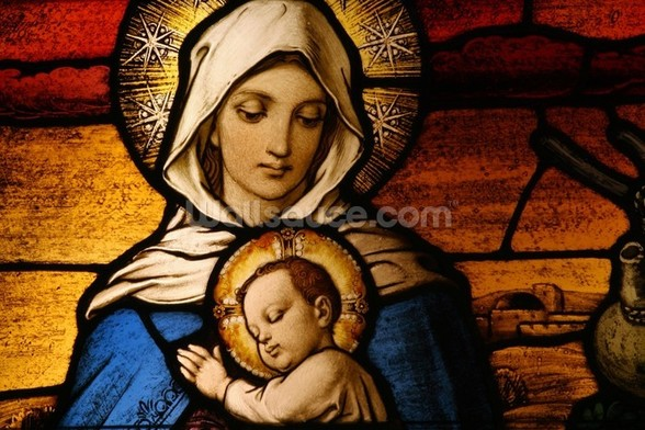 Virgin Mary Holding Baby Jesus wall mural