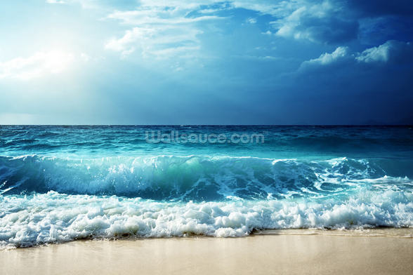 Waves at Seychelles Beach wallpaper mural