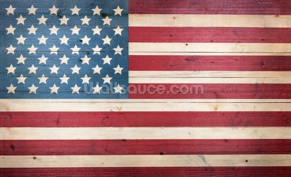 Stars and Stripes on Wood wallpaper mural