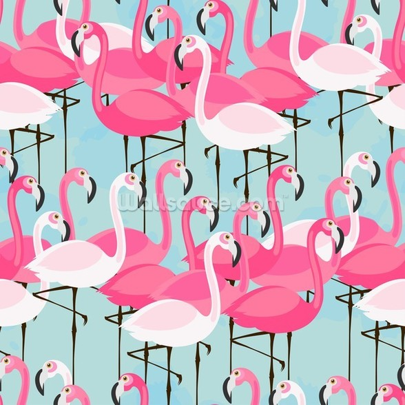 Flock of Flamingos mural wallpaper