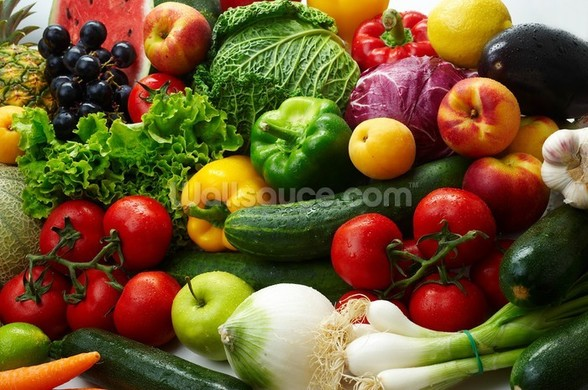 Fruit and Vegetable Assortment wallpaper mural