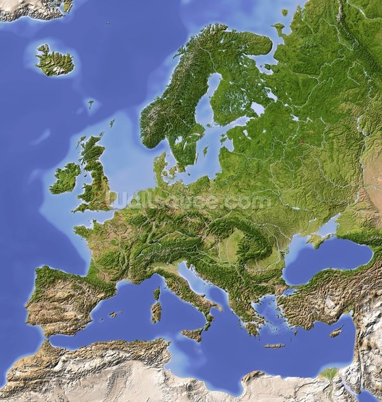 Relief Map of Europe wallpaper mural