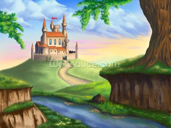 Fantasy castle wall mural fantasy castle wallpaper for Castle mural wallpaper