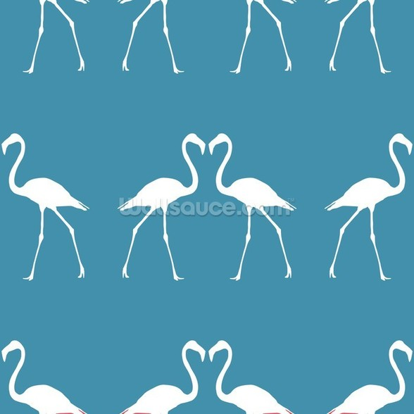 White Flamingos wallpaper mural