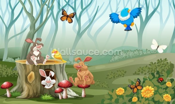Rabbits and Birds Forest wallpaper mural