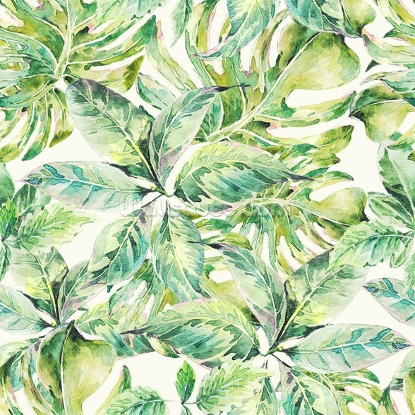 Exotic Summer Leaves wall mural